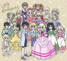 "Everyone in ""la Rose de Versailles"", children version."