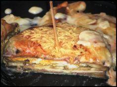 Lasaña de berenjena 019 Lasaña de berenjena con jamón y Mozarella, receta casera