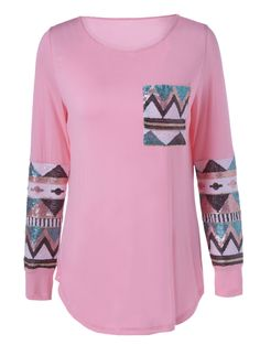 Single Pocket Sequined Decorated T-Shirt in Light Pink | Sammydress.com
