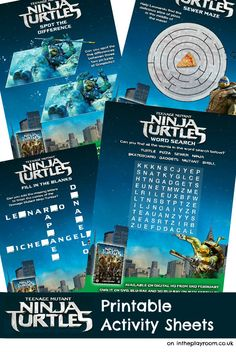 Teenage Mutant Ninja Turtles printable activity sheets, from the new TMNT movie