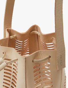 Mini Oval Die Cut Bucket Bag in Neutral