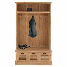 """Wood hall tree with 1 upper shelf and 3 louvered drawers.   Product: Hall treeConstruction Material: WoodColor: NaturalFeatures: Three drawersDimensions: 74"""" H x 41"""" W x 17"""" D"""