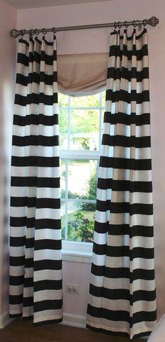 "3"" Black and White Horizontal Stripe 84"" Curtain Panel. $67.50, via Etsy."
