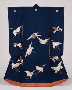 Japan, uchikake, with flying cranes design, late Edo/early Meiji era