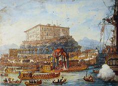 Desembarque da princesa Leopoldina em 1817 no Morro de São Bento, por Debret. A família real portuguesa estabeleceu-se no Brasil para fugir da invasão das tropas de Napoleão.