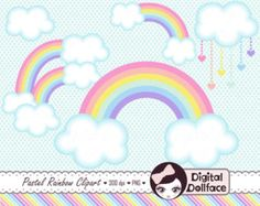 Pastel arco iris Clip Art, Clipart de nubes, primavera diseño gráfico, Digital