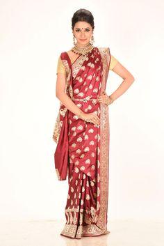 Maroon Benarasi Saree of category Benarasi Sarees presented by the most famous saree boutique in kolkata Adimohinimohankanjilal