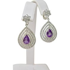 @rubylanecom A Pair of Amethyst and Topaz Statement Drop Earrings