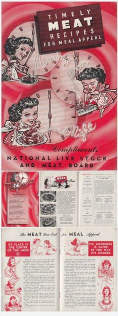 Timely Meat Recipes for Meal Appeal 1944 Vintage Booklet National Live Stock and Meat Board approximately 84 meat recipes and recipes using lard.