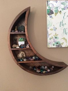 We're over the moon for this carved wood wall shelf in the shape of a crescent moon With four petite shelves, it's perfect for holding all your favorite little finds Ready for hanging; hardware not included Content + Care Mango wood - di Diy Home Decor Rustic, Diy Home Decor Projects, Decor Ideas, Farmhouse Decor, Decorating Ideas, Sewing Projects, Craft Ideas, Wood Wall Shelf, Wall Shelves