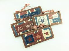 AG Designs Patriotic Decor  Americana Wooden Ornaments by AgapeGiftsOnline