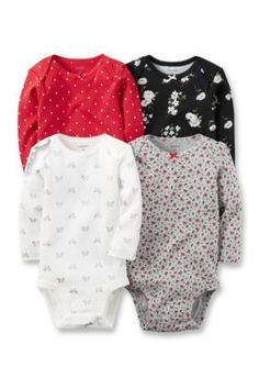 Carters Assorted 4-Pack Long-Sleeve Bodysuits