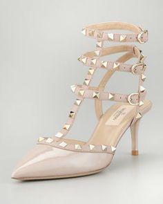 Valentino Rockstud Patent Leather Sandal Nude