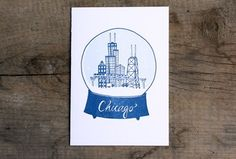 Chicago Snowglobe Letterpress Print 1canoe2