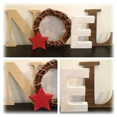 NOEL Christmas Decor Letters with Wreath