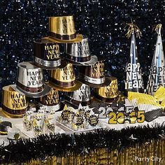Get everyone in gear to ring in the New Year! Fill up an accessories table with top hats, 2015 glasses, and more!