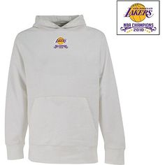 "Antigua Los Angeles Lakers 2010 NBA Finals Champions Signature Hoodie Three cheers for the champs of the basketball court! Zip up in winning gear, starting with the Antigua 2010 NBA Finals Champions women's Signature hoodie. The team's logo is screenprinted above the text ""NBA Champions 2010,"" just to the left of the full-length zipper."