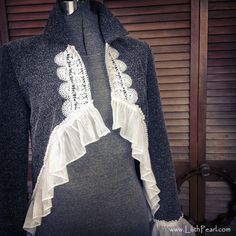 Bohemian Jacket Upcycled with Vintage Crochet, a Sheer Ruffle and a Funky Hemline - Size 6P. $84.00, via Etsy.