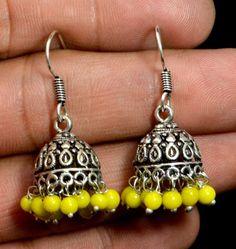 Jhumki Handmade Hook 925 Sterling Silver Plated Designer Earrings Jewelry KED197 #krsnajewels #DropDangle