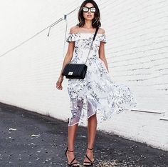 Pin for Later: 43 Genius Outfit Ideas to Steal From Pinterest An Off-the-Shoulder Floral Dress and Strappy Sandals