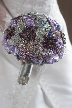 Ruby Blooms is pleased to offer you the Elite Collection - Rhinestone Silver Lavender wedding brooch bouquet. Designed for Silver Lavender Wedding Bridal Flowers and Special Events! Brooch Bouquet Spe