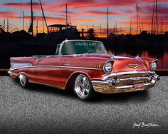 Items similar to Auto Art - 1957 Chevy Convertible - Classic Car Print - Hot Rod Art - Street Rod - Giclee print w/ 11 x 14 Mat - on Etsy 1957 Chevy Bel Air, Chevrolet Bel Air, Vintage Cars, Antique Cars, Old Fashioned Cars, Car Prints, Car Man Cave, Chevy Muscle Cars, Old School Cars