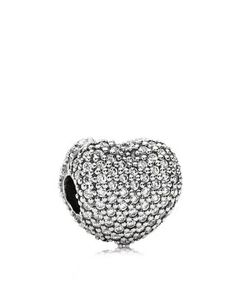 PANDORA Clip - Sterling Silver & Cubic Zirconia Pavé Open My Heart, Moments Collection | Bloomingdale's