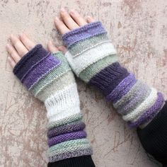 African Violet Striped Hand Knit Fingerless by WrapturebyInese