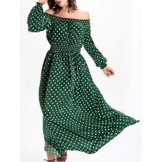 Trendy Off The Shoulder High-Waisted Polka Dot Women's Dress