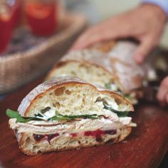 Italian Loaf with Turkey White Cheddar and Cranberry Sauce Sandwich Recipe. Ciabatta or focaccia makes an ideal backdrop for this flavorful sandwich, prepared with leftover roast turkey (and cranberry (Yummy Sandwich Recipes) Turkey Sandwiches, Wrap Sandwiches, Appetizer Sandwiches, Vegetarian Sandwiches, Appetizers, Thanksgiving Leftovers, Thanksgiving Recipes, Italian Thanksgiving, Muffuletta Sandwich