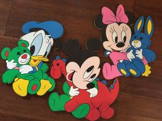 Set of 3 VINTAGE CARDBOARD DISNEY WALL DECORATIONS DONALD MICKY MINNIE MOUSE in Collectibles, Disneyana, Contemporary (1968-Now) | eBay