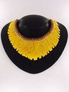 Maxi colar Paete Amarelo bijuterias;   FRETE GRATIS R$ 119,90