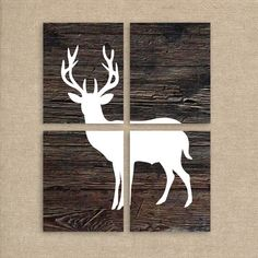 Deer Art, Deer Prints, Wood Background, Set of Four 8x10 Prints, Deer Silhouette, Rustic Home Decor