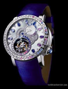 Diamond Watches Ideas : Illustration Description Boucheron Sheherazade Tourbillon ladies watch: i love it. Cute Watches, Amazing Watches, Beautiful Watches, Watches For Men, Ladies Watches, Wrist Watches, Patek Philippe, Luxury Watches, Rolex Watches