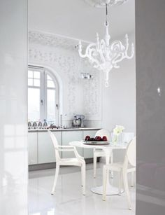 White Louis Ghost by Philippe Starck Paper Chandelier, White Chandelier, Paper Lamps, Dinner Room, Interior Decorating, Interior Design, Decorating Ideas, Leather Dining Room Chairs, Kartell