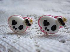 Sugar Skull Earrings, Kawaii Stud Earrings, Minimal Stud Earrings, Small Stud Earrings, Surgical Steel Studs, Small Skull Earrings by dragonflyridge on Etsy