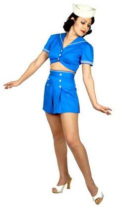 1940s Fashion, Timeless Fashion, Vintage Fashion, Vintage Style, 1940s Style, Vintage Pins, 1940s Pinup, Vintage High Waisted Shorts, Sailor Shorts