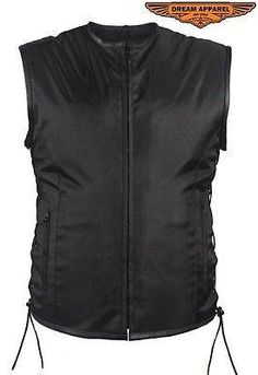 Men's Blk Side Lace Textile Motorcycle Vest with 2 Gun pockets and Leather trim