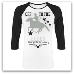 """RODEO REBEL TEE Rhinestone """"Off to the RODEO"""" Horse Stars & Rhinestones Black Baseball Style Top #cowgirl #top #crystal #rhinestone #rodeo #fashion #western #style #roping #calfroping #horse #equine #cowboy #bling #tshirt #top"""