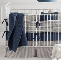 Wyatt's bedding- Vintage Ticking Stripe & Vintage-Washed Percale Nursery Bedding Collection