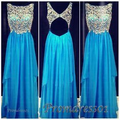Pretty sparkly blue chiffon prom dress for teens