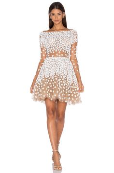 Patricia Bonaldi Long Sleeve Floral Embellished Mini Dress in White