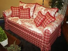 Image detail for -French Country Decorating Red Sofa. Idea for recovering couch. French Country Sofa, Country Sofas, French Sofa, Country Bedding, French Countryside, Cottage Chic, Red Cottage, French Decor, French Country Decorating