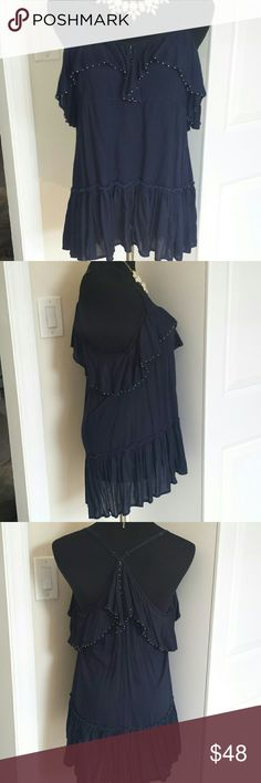 NWOT Free People Navy Racerback tunic dress Beautiful fun flirty dress from  free people. Fully adjustable straps. Beautiful navy color and flowy peasant skirt. Feel free to make offers  ! Free People Tops Tunics