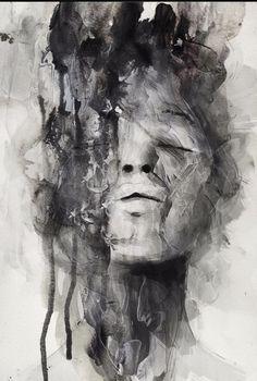 Artist: Januz Miralles {abstract female head woman face portrait mixed media b+w painting} Art Visage, L'art Du Portrait, Ouvrages D'art, Expressive Art, A Level Art, Art Graphique, Art Inspo, Painting Inspiration, Amazing Art