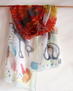 Silk chiffon scarf- Dressmakers tools. Hand painted scarf. Light, white and red scarf with sewing accessories. OOAK gift for mom KMS16 by klaradar on Etsy https://www.etsy.com/au/listing/181614882/silk-chiffon-scarf-dressmakers-tools