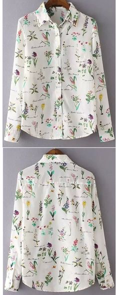 Casual lapel florals slim blouse at romwe.com. Chic fashion item for any season!