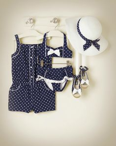 Polka Dot Knit Romper, Swimsuit, Sunhat & Sandals from @Janie and Jack - Coastal Getaway Collection.