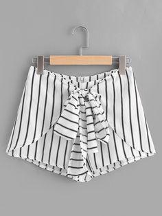 Shorts à rayures avec le zip et des nœuds papillon-French SheIn(Sheinside)