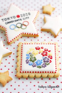 """Tokyo 2020 Candidate city cookie - Well, Tokyo's not a """"candidate city"""" anymore - it IS officially hosting the 2020 Olympics. But this is still adorable :)"""